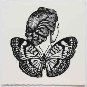 Chocolate Argus Winged Woman, 2010, linocut, 40 x 40 cm
