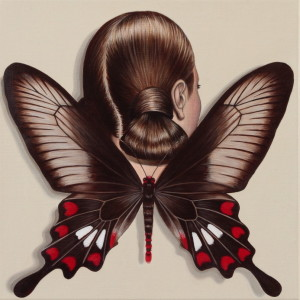 Common Rose Swallowtail Winged Woman, 2010, acrylic on linen, 36 x 36 cm