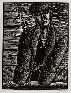 Mildred Pierce on St. Kilda Pier, 1995, linocut, 65 x 46 cm