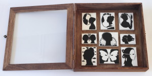 Miniature silhouettes, 2012, acrylic on canvas, 9 x 7 cm, 7 x 9 cm and 5 x 7 cm